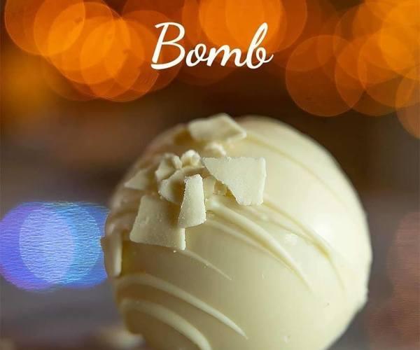 White hot chocolate bomb